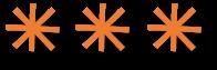 3 orange large asterisks